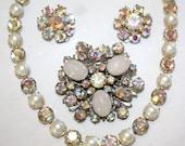 Beautiful Vintage Jewelry Lot, Rhinestone Necklace,Brooch,Eassrings, Aurora Borealis & Pearls,Austria, Juliana Perhaps.