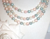 Cultured Pearl Necklace in Baby Blue, Light Pink, and White. Chic. Handmade.