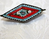 Antique Signed Italy, Micro Mosaic Diamond Shaped Brooch. Flowers, Red and Blue.