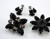 Black Rhinestone Vintage Jewelry Lot, Brooch, Pendant, Signed Pierre Earrings, Flowers