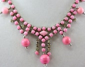 Fabulous Vintage Glass Pink Rhinestone & Bead Necklace, Cotton Candy Color. Brooch, Designer Quality.