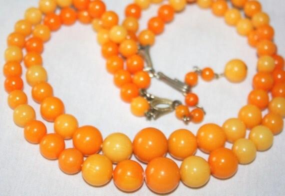Vintage Butterscotch Oranges, Bakelite Bead Necklace, Double Strand.