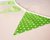 Lime Green and white polka dots and stripes fabric bunting banner. Nursery and playroom decor, party photo prop.
