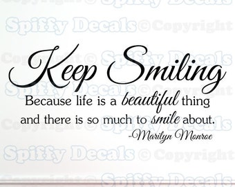Keep Smiling Marilyn  Monroe wall quote