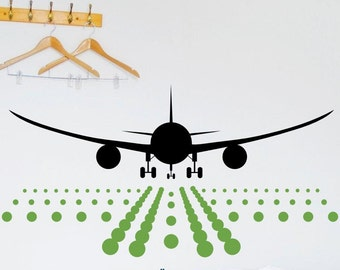 Airplane with Runway vinyl wall design