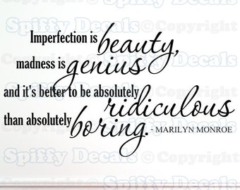 Imperfection is Beauty Marilyn Monroe wall quote 16x27.5
