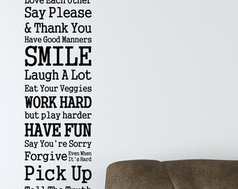 Rules Of The House Smile Fun Love vinyl wall quote