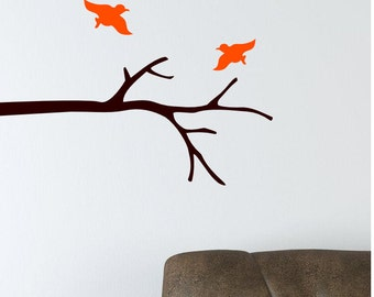 Tree Branch with two Birds Nature vinyl wall decal