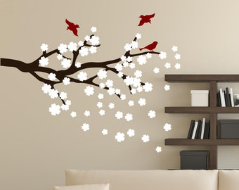 Cherry Blossoms Branch with Birds