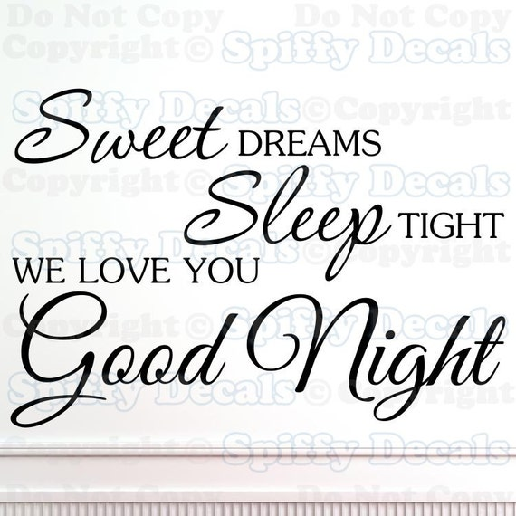 Good Night Love Quotes: Sweet Dreams Sleep Tight Love Good Night Vinyl Decal Wall