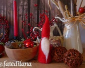 Reservation for Mimi. Set of six Santa in Red Needle Felted Wools.