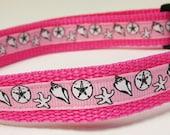 3/4 inch wide adjustable side release pet collar - seashells on pink - pink webbing - medium