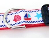 LAST ONE 1 inch wide adjustable side release dog collar - red, white, blue aquatic - red webbing - size medium