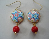 The Sunny Day Earrings - Red Blue cabochon on raw brass settings, holiday gift, red Christmas