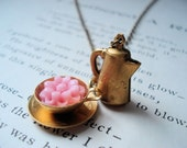 Cup of Beauty - Vintage tea pot and tea cup short necklace, brass finish