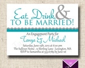 Printable Engagement Party Invitation Card - Mod Eat Drink and To Be Married