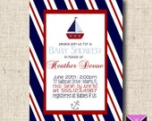 Printable Baby Shower or Birthday Invitation - Nautical Sailboats and Anchors