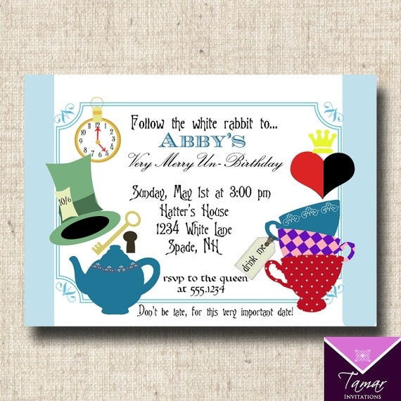Alice And Wonderland Birthday Invitations with adorable invitation template