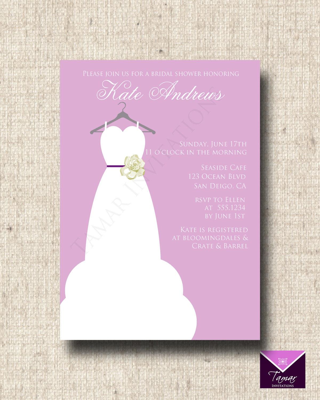 Printable bridal shower invitation card elegant bridal for Designer bridal shower invitations