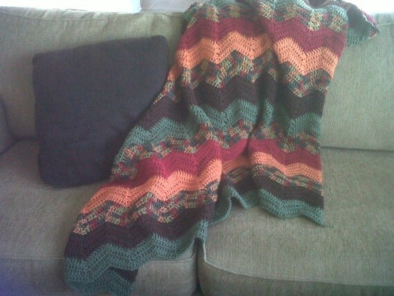 Classic Autumn Ripple Afghan - Extra Long