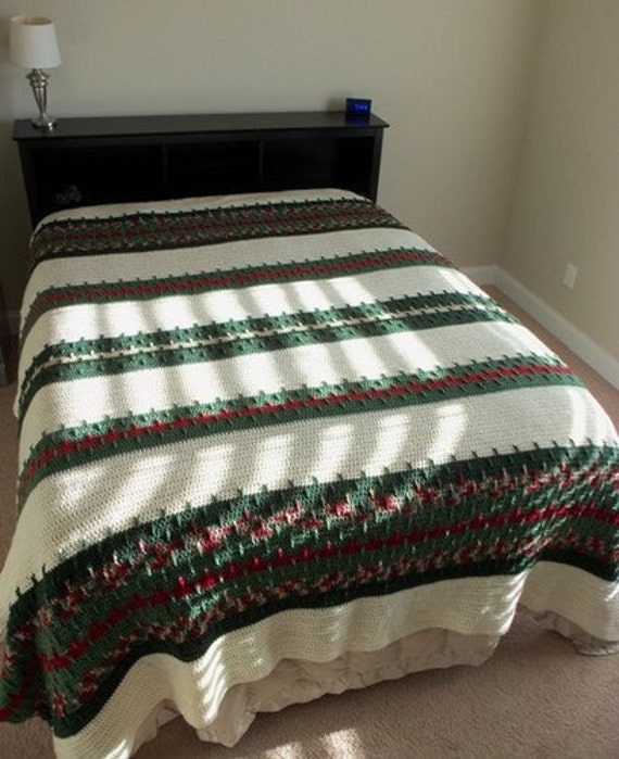 Green and Burgundy Handmade Afghan  - King Size