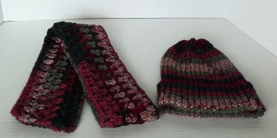 Handmade Red Multi Scarf with Matching Knit Hat