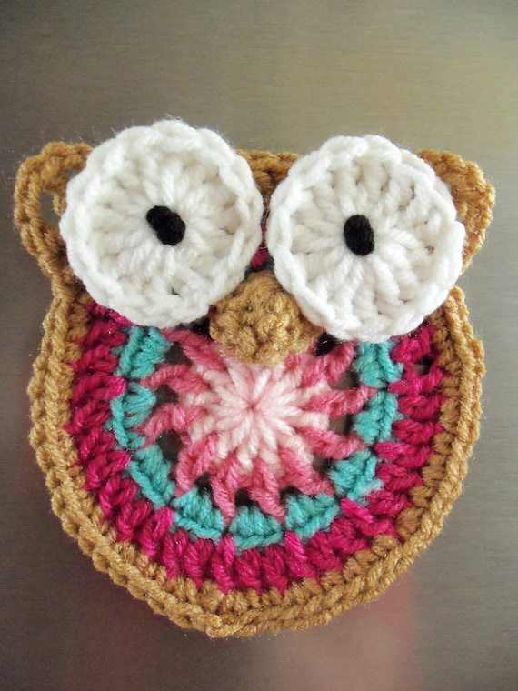 Decorative Owl Fridge Magnet - Pinks