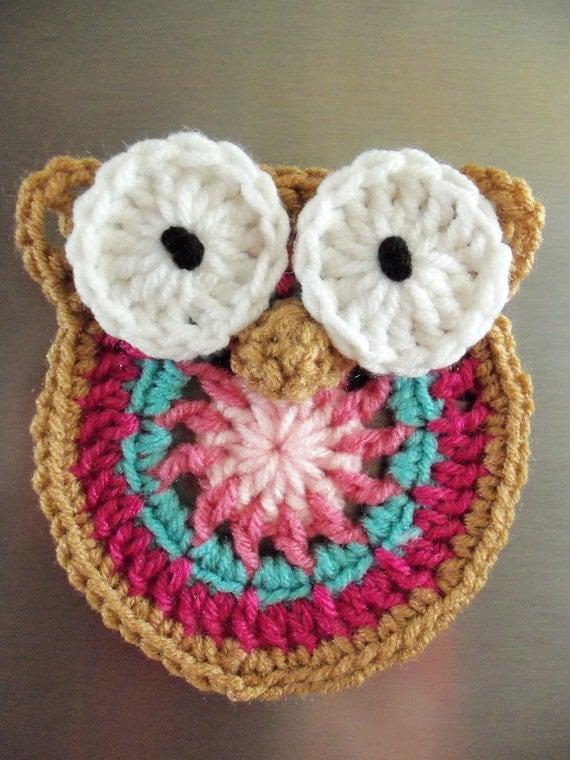 Decorative Owl Fridge Magnet - Pinks