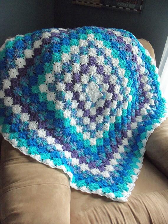Blues and Lavender Bavarian Crochet Afghan Lapghan Throw