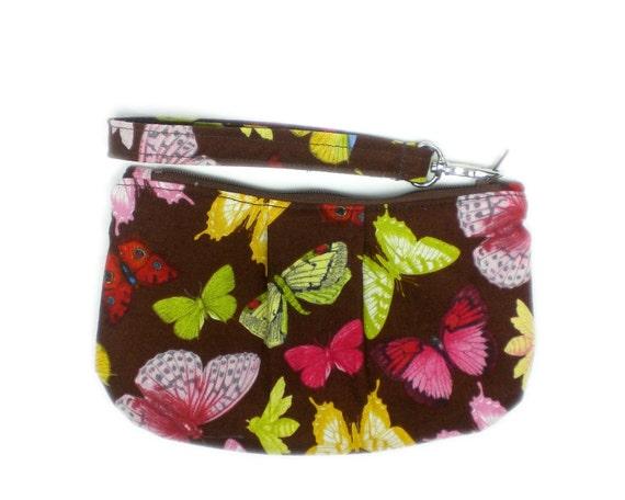 """Butterflies wristlet 7"""" zipper pouch wallet"""