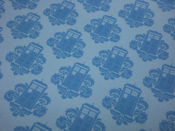 Damask fabric fat quarter - blue police boxes
