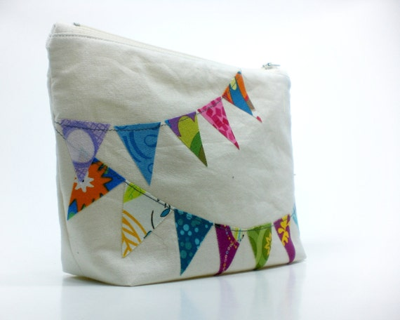 """Bunting banner 8"""" zipper purse flags party cosmetic bag"""