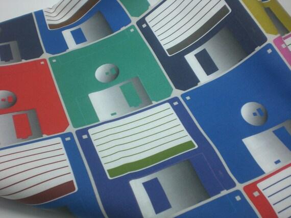 Floppy Disks fabric quarter - computer geek FQ