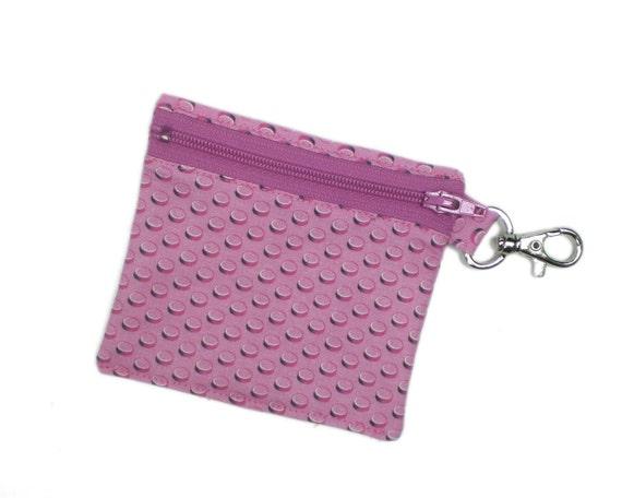 Geek girl wallet - Pink brick field 4in lego fabric coin purse