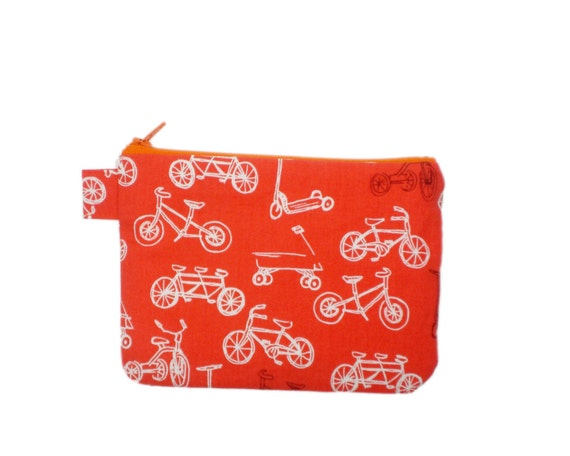 Orange bicycles zipper pouch 6 inches scooters tricycles