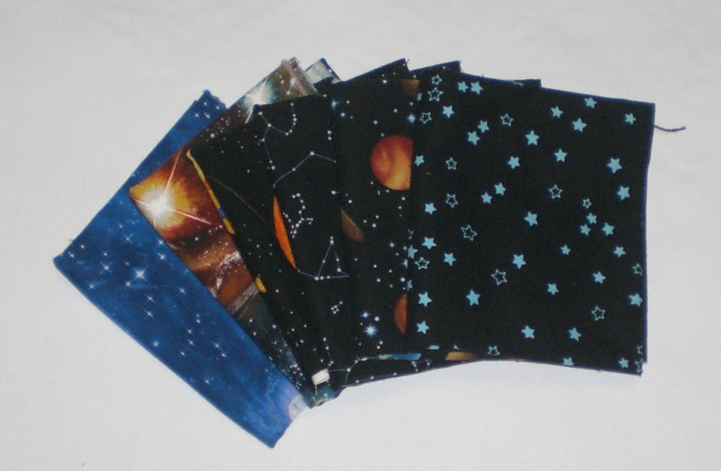 Outer space fabric quarters set of six solar system night for Outer space themed fabric