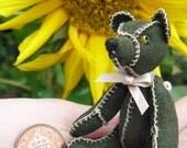 Teddy bear, miniature, 8cm, green, leather,OOAK.