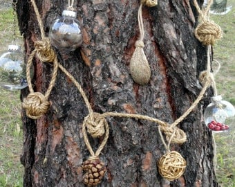 Rustic Christmas Garland (with charms) -- 5 Ft.