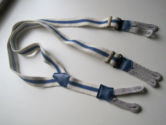 Blue and white striped elastic suspenders -  x small