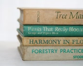 Vintage 4 Book Collection Photography Prop Jadeite Tan Decor Trees Informational Books Cottage Style