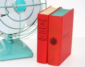 Red 2 Book Collection Retro Decor Aqua Red Interior Design