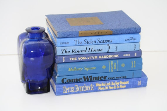 Blue Books 7  Instant Library Collection Interior Design  Pottery Barn Style Cottage Home Decor