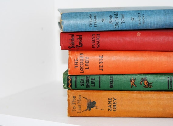 Vintage Book Collection 5  Interior Design Photography Prop Home Decor Blue Red Green Yellow Orange