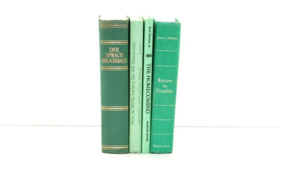 Reserved for Jessica- Bright Green Vintage 4 Books Home Decor Cottage Style