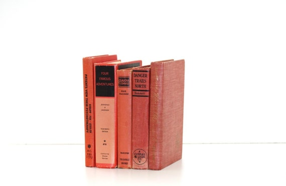 Pink Salmon Colored Vintage 5 Book Collection