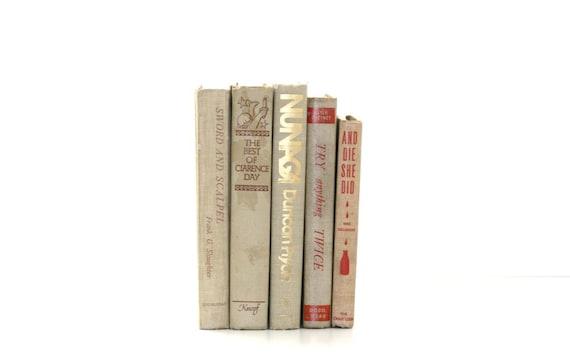 Light Beige Vintage 5 Book Collection Cottage Style Home Interior Design