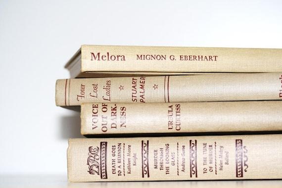 Beige Vintage 4 Book Collection Interior Design Vintage Book decor