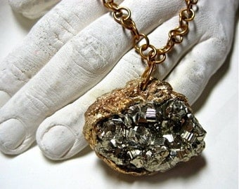 Pyrite-Fool's Gold-Raw Mineral- Long Necklace- Organic-Wearable Art- Handmade by Pauletta Brooks