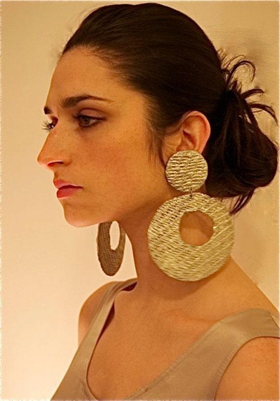 BIG -Oversized -Mesh -Hoop Earrings -Silver-Gold- by Pauletta Brooks Wearable Art