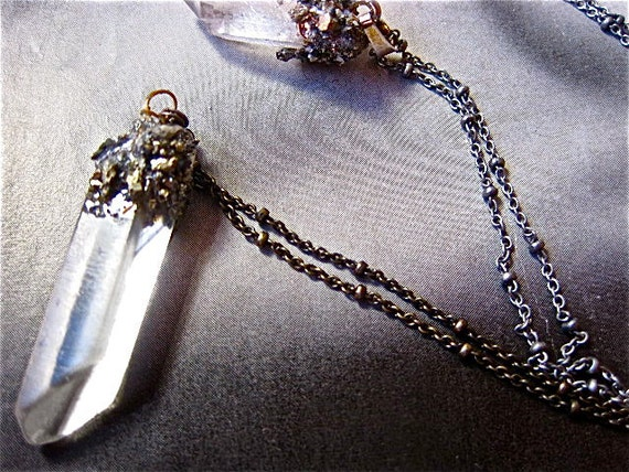 Pyrite- Dusted, Magical, Crystal Points, Artisan Necklace by Pauletta Brooks